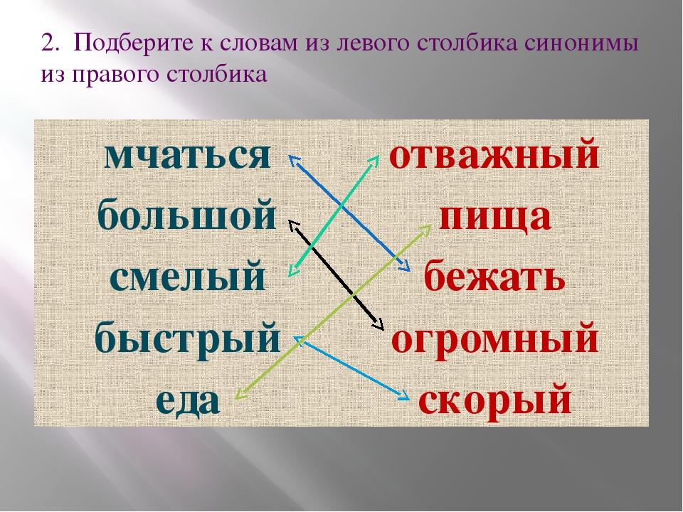 2. Подберите к словам из левого столбика синонимы из правого столбика мчаться...
