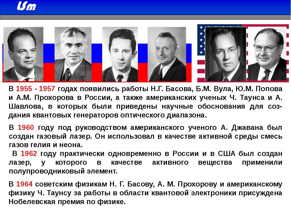В 1955 - 1957 годах появились работы Н.Г. Басова, Б.М. Вула, Ю.М. Попова и А....