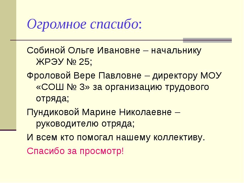 Огромное спасибо: Собиной Ольге Ивановне – начальнику ЖРЭУ № 25; Фроловой Вер...