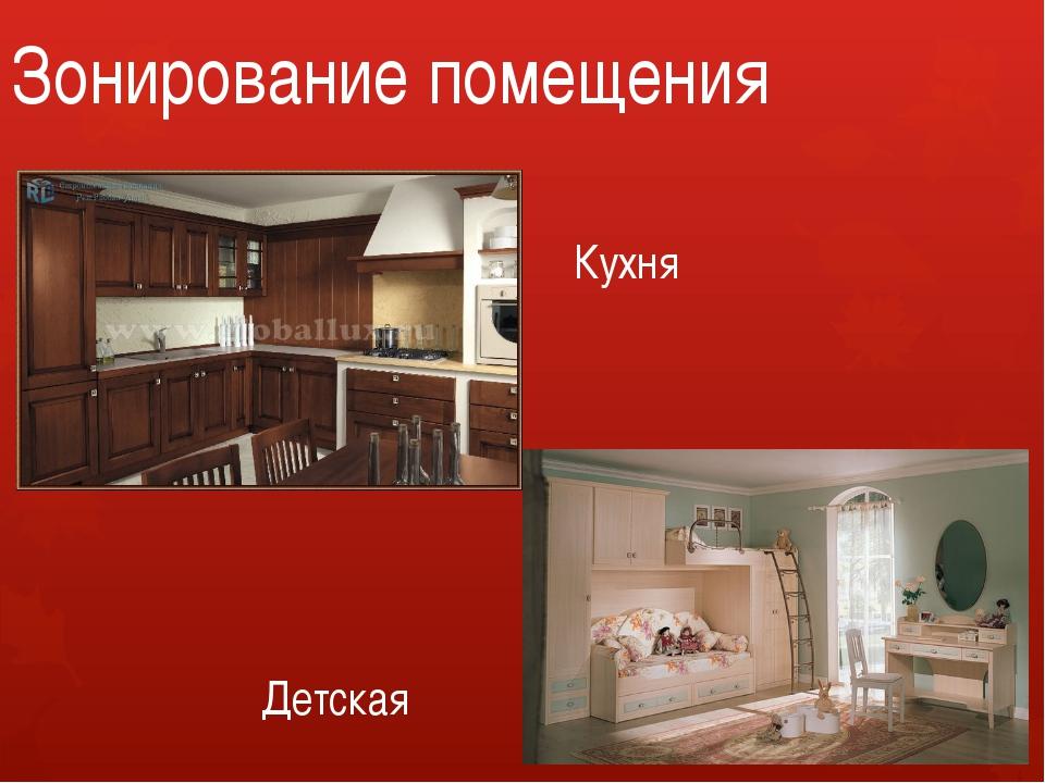 Зонирование помещения Кухня Детская