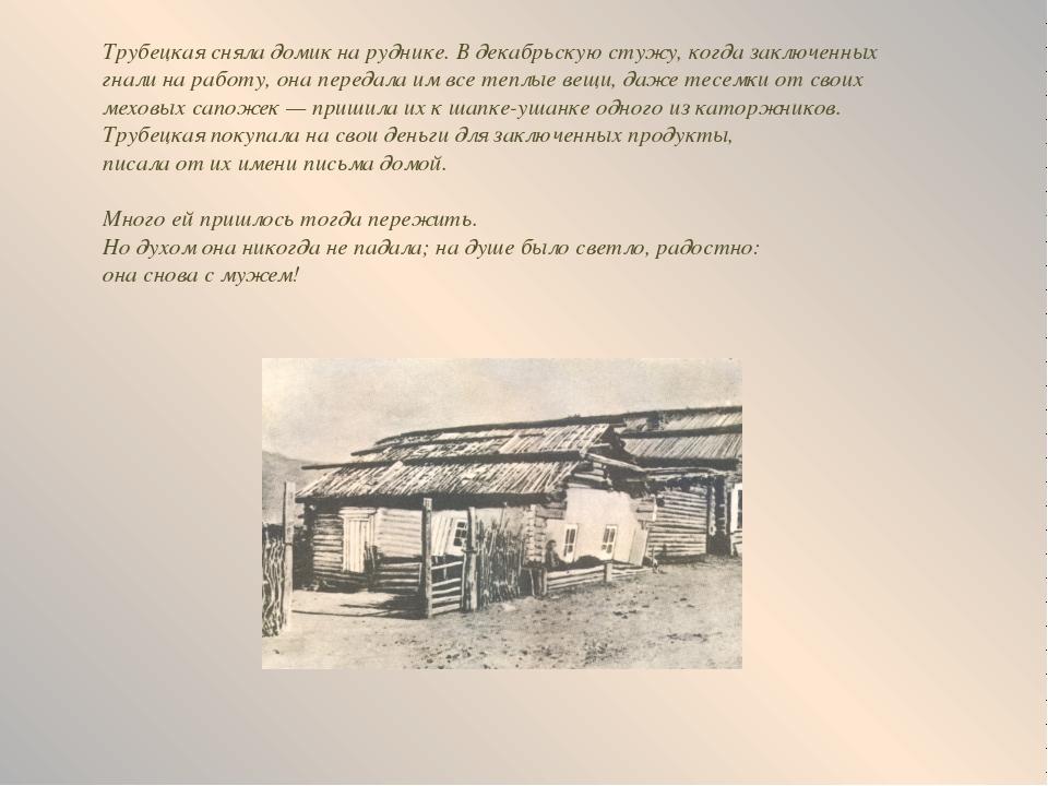 Трубецкая сняла домик на руднике. В декабрьскую стужу, когда заключенных гнал...