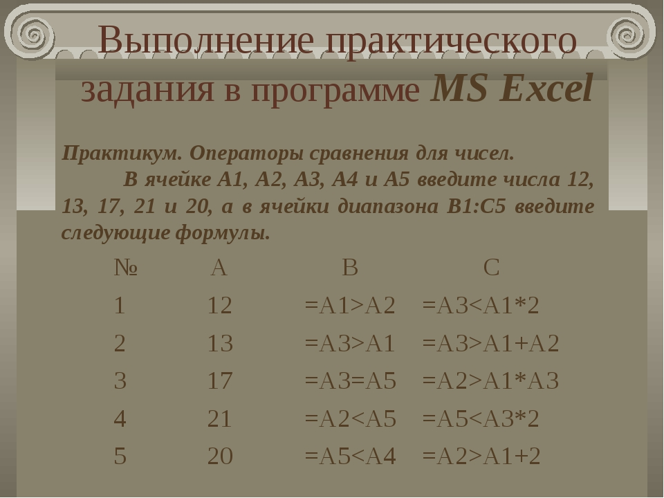 Выполнение практического задания в программе MS Excel Практикум. Операторы ср...