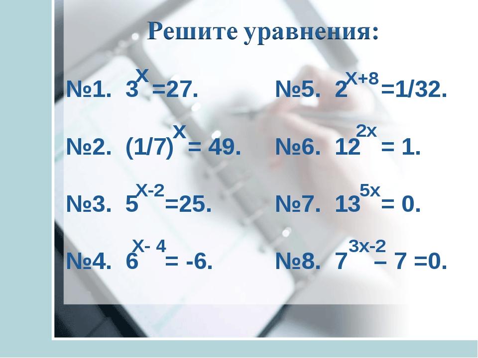 №1. 3 =27. №2. (1/7) = 49. №3. 5 =25. №4. 6 = -6. х х Х-2 Х- 4 №5. 2 =1/32....