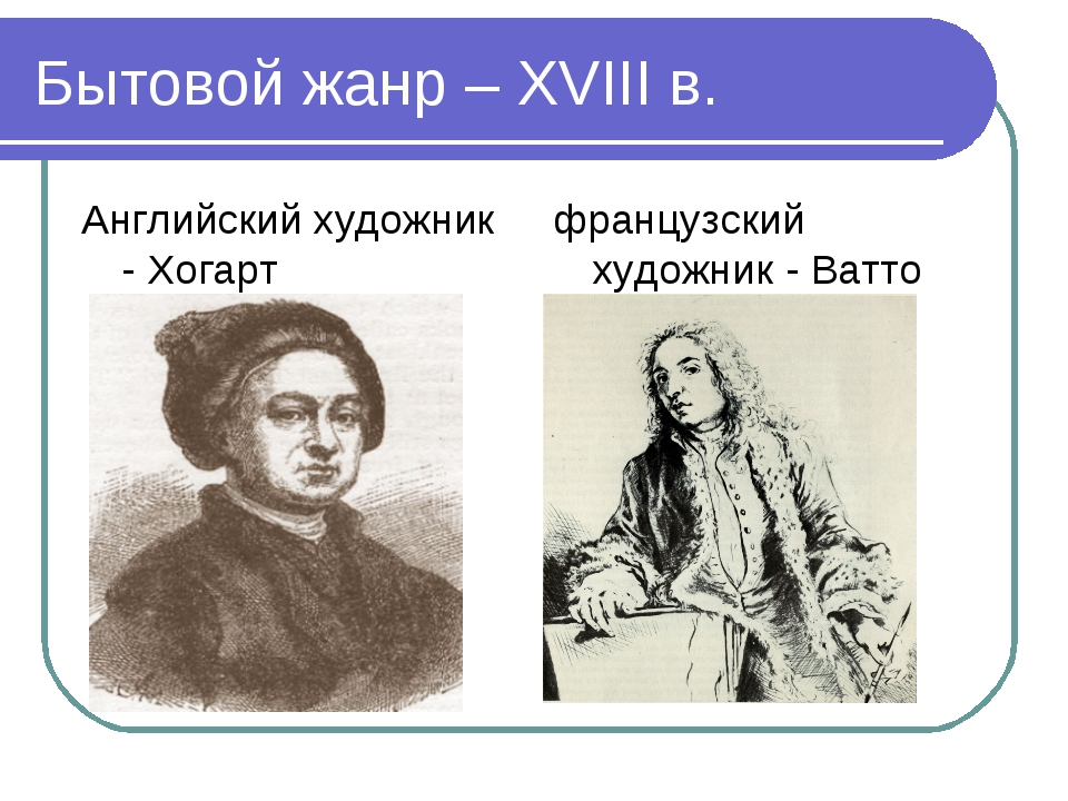 Бытовой жанр – XVIII в. Английский художник - Хогарт французский художник - В...