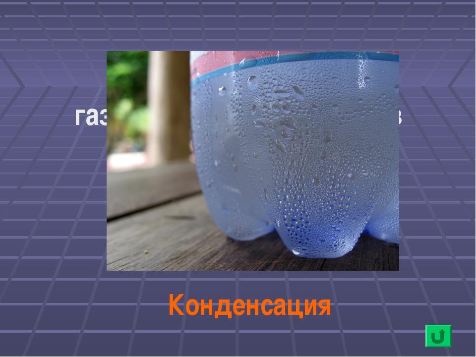 Переход воды из газообразного состояния в жидкое Конденсация