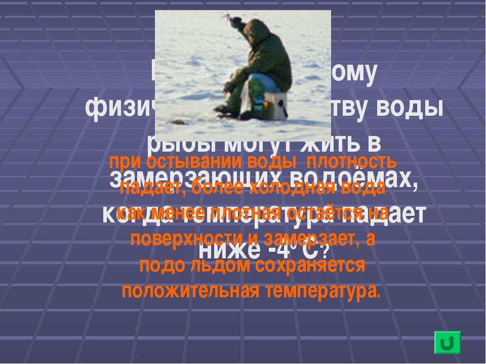 Благодаря какому физическому свойству воды рыбы могут жить в замерзающих водо...