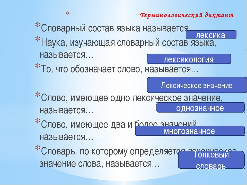 Терминологический диктант Словарный состав языка называется … Наука, изучающа...