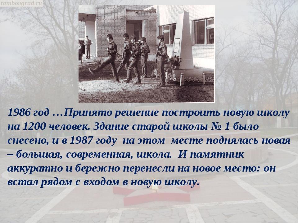 1986 год …Принято решение построить новую школу на 1200 человек. Здание старо...