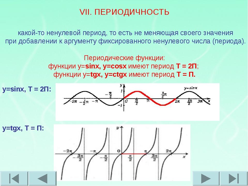 VII. ПЕРИОДИЧНОСТЬ Периоди́ческая фу́нкция ― функция, повторяющая свои значен...