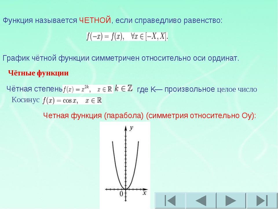Функция называется ЧЕТНОЙ, если справедливо равенство: График чётной функции...