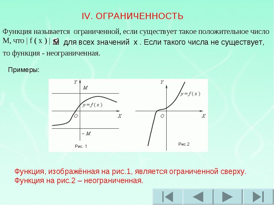 IV. ОГРАНИЧЕННОСТЬ Функция называется ограниченной, если существует такое по...