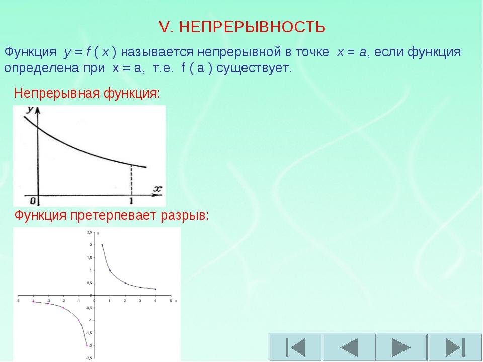 V. НЕПРЕРЫВНОСТЬ Функция y = f ( x ) называется непрерывной в точке x = a,...