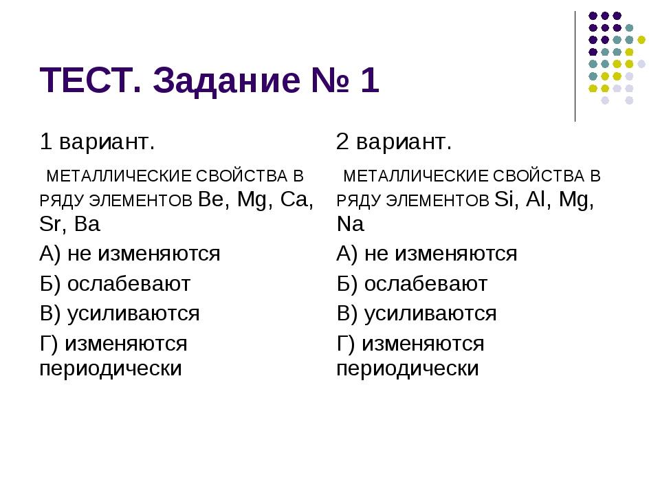 ТЕСТ. Задание № 1
