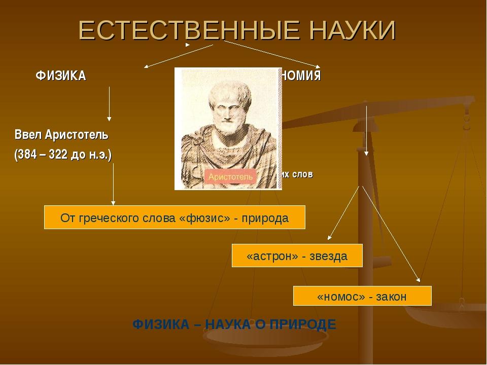 ЕСТЕСТВЕННЫЕ НАУКИ ФИЗИКА АСТРОНОМИЯ Ввел Аристотель (384 – 322 до н.э.) от...