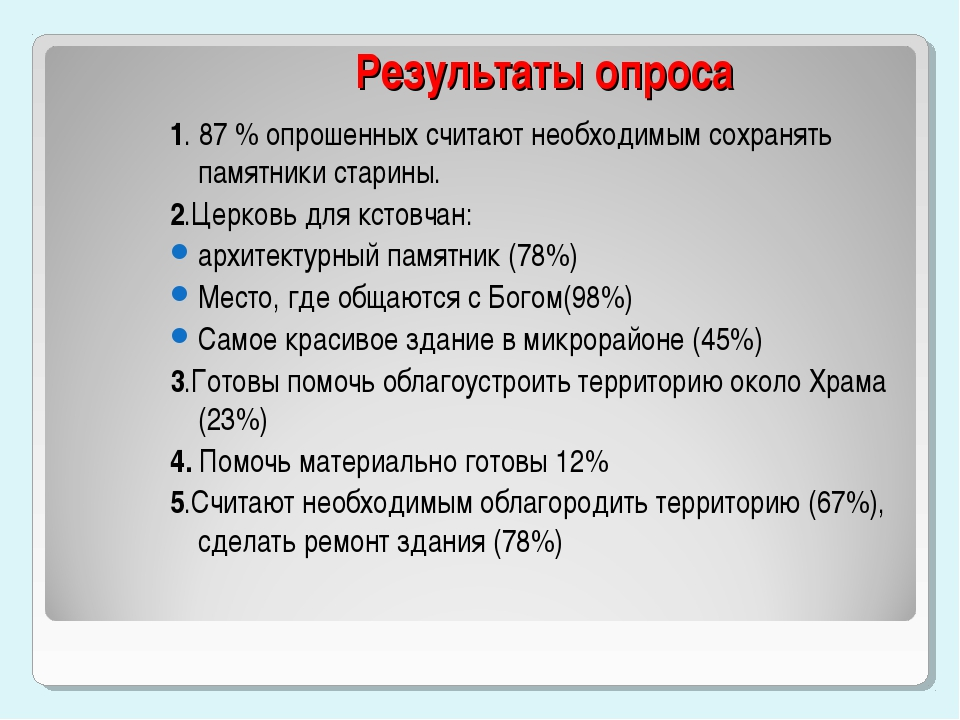 Результаты опроса 1. 87 % опрошенных считают необходимым сохранять памятники...