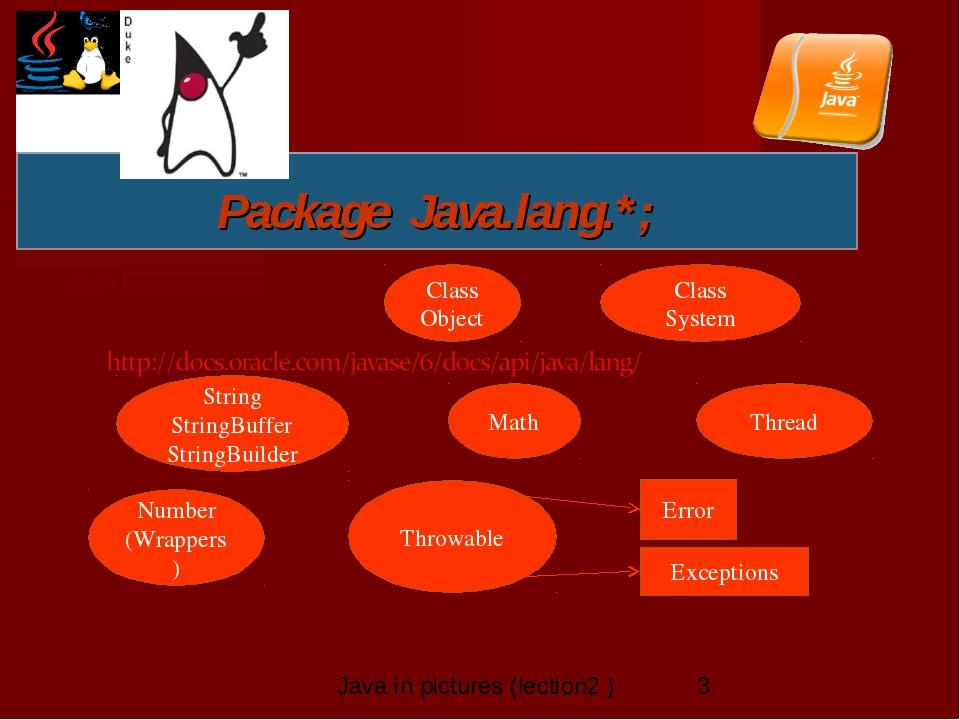 Package Java.lang.*; String StringBuffer StringBuilder Thread Throwable Class...