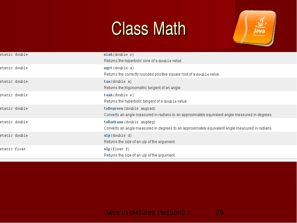 Class Math Java in pictures (lection2 )