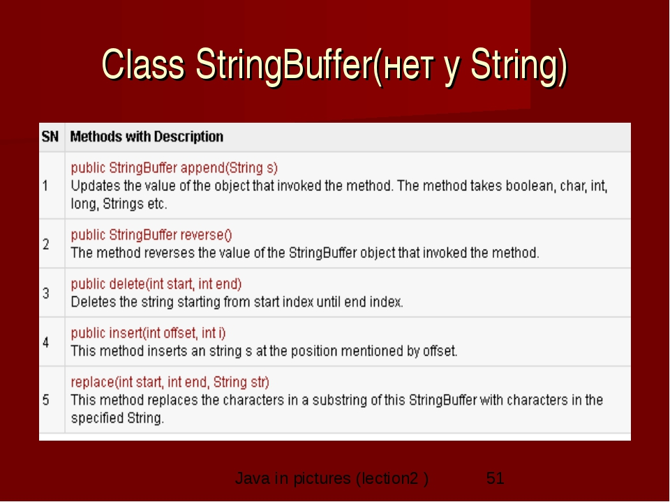 Class StringBuffer(нет у String) Java in pictures (lection2 )