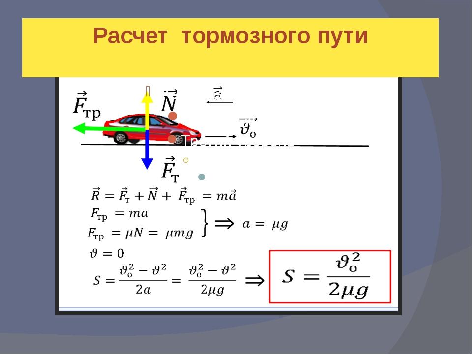 Расчёт тормозного пути Расчет тормозного пути