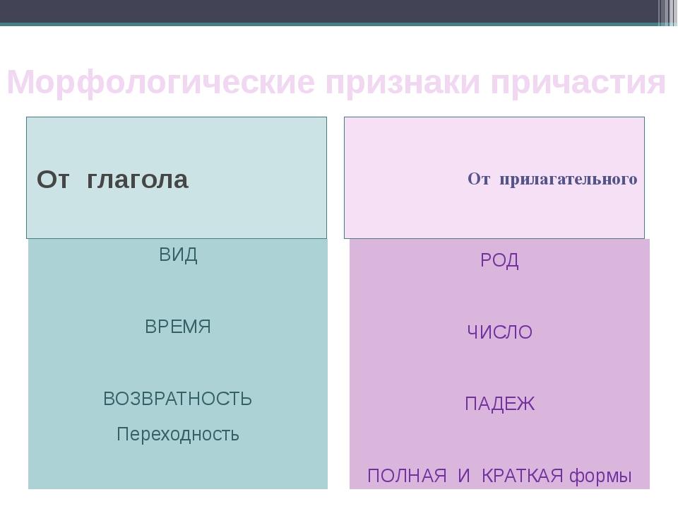 Морфологические признаки причастия От глагола От прилагательного ВИД ВРЕМЯ ВО...