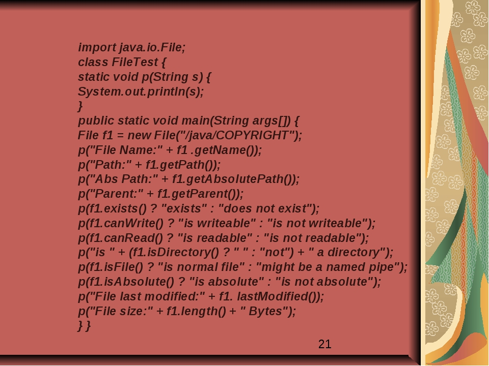 import java.io.File; class FileTest { static void p(String s) { System.out.pr...