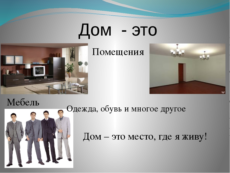 Дом - это Помещения Мебель Одежда, обувь и многое другое Дом – это место, где...