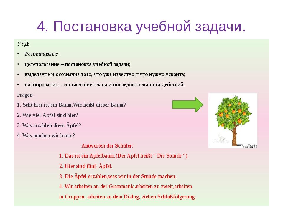 4. Постановка учебной задачи. УУД: Регулятивные : целеполагание – постановка...