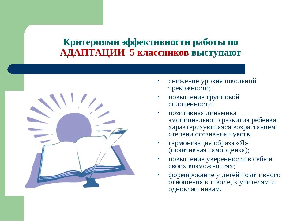 Критериями эффективности работы по АДАПТАЦИИ 5 классников выступают снижение...