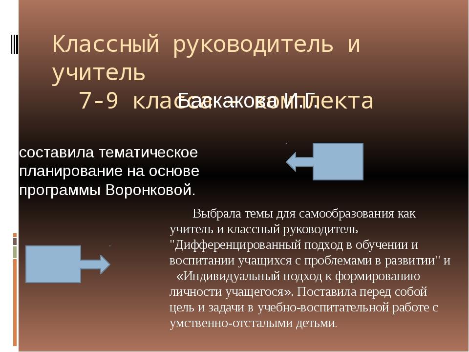 Классный руководитель и учитель 7-9 класса – комплекта Баскакова И.Г. состави...