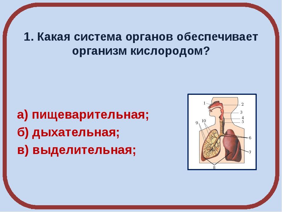 1. Какая система органов обеспечивает организм кислородом? а) пищеварительна...