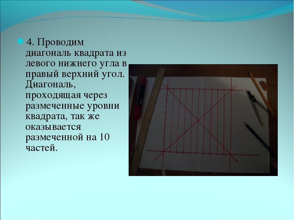 4. Проводим диагональ квадрата из левого нижнего угла в правый верхний угол....