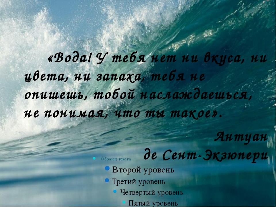 «Вода! У тебя нет ни вкуса, ни цвета, ни запаха, тебя не опишешь, тобой насл...