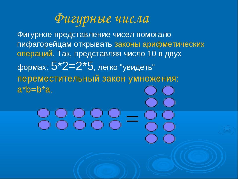 Фигурные числа Фигурное представление чисел помогало пифагорейцам открывать з...