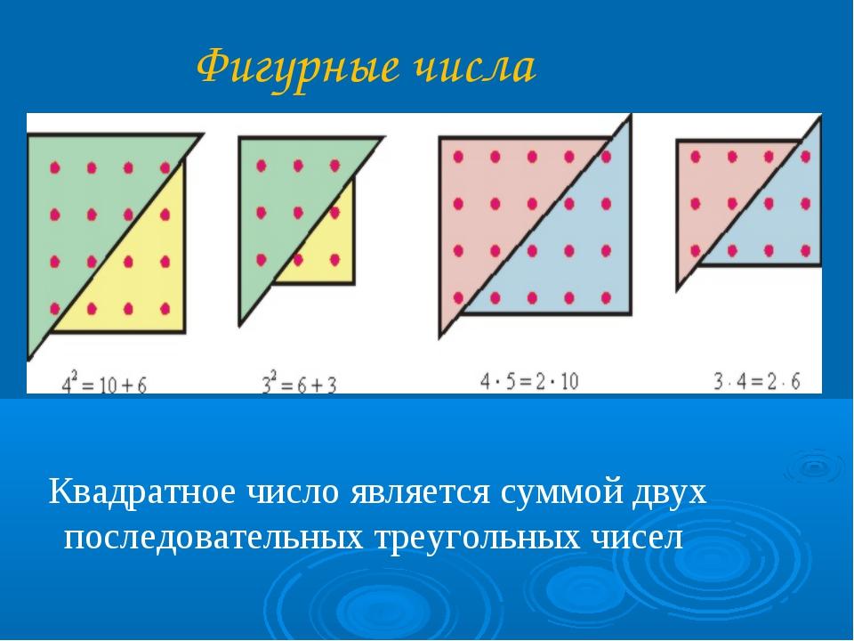 Фигурные числа Квадратное число является суммой двух последовательных треуго...