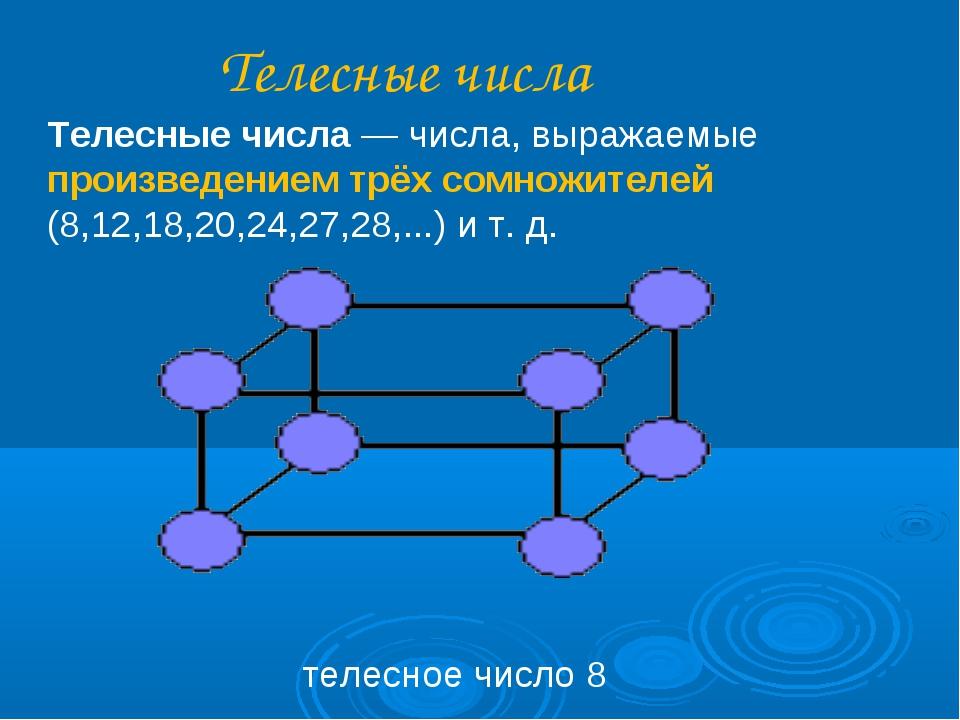 Телесные числа Телесные числа— числа, выражаемые произведением трёх сомножит...