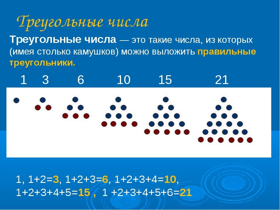 Треугольные числа Треугольные числа — это такие числа, из которых (имея столь...