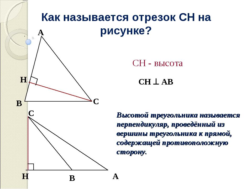 Как называется отрезок СН на рисунке? СН  АВ СН - высота Высотой треугольник...