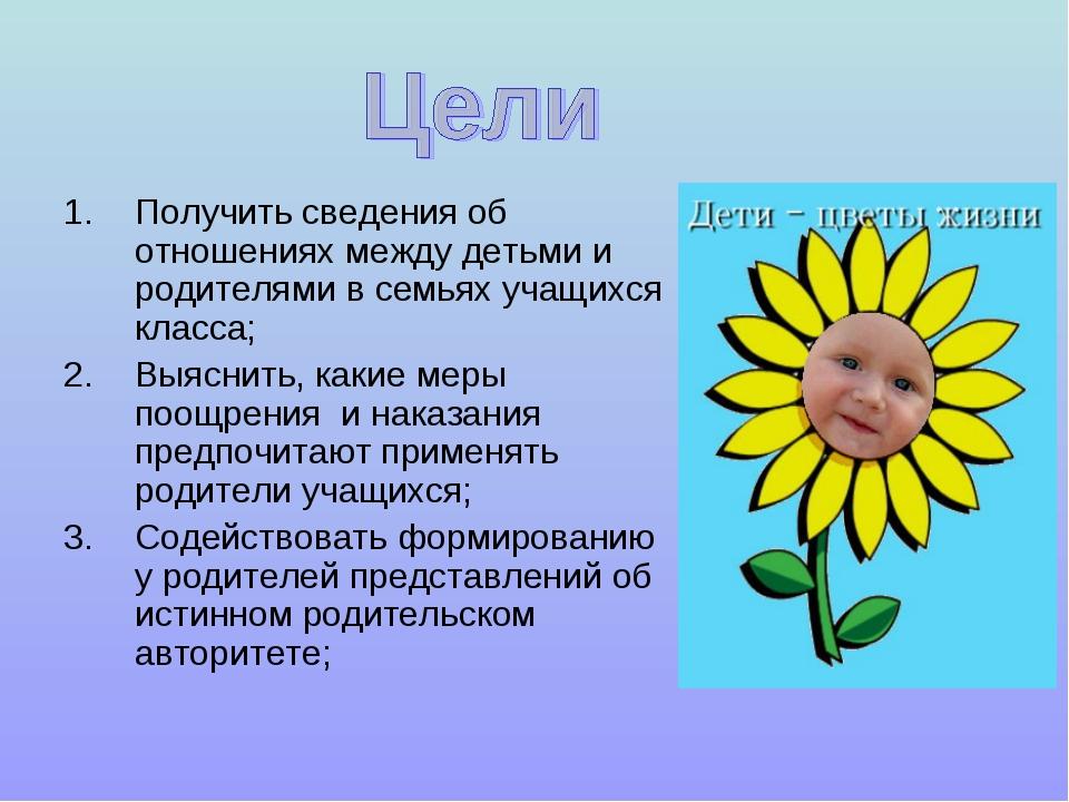 Получить сведения об отношениях между детьми и родителями в семьях учащихся...