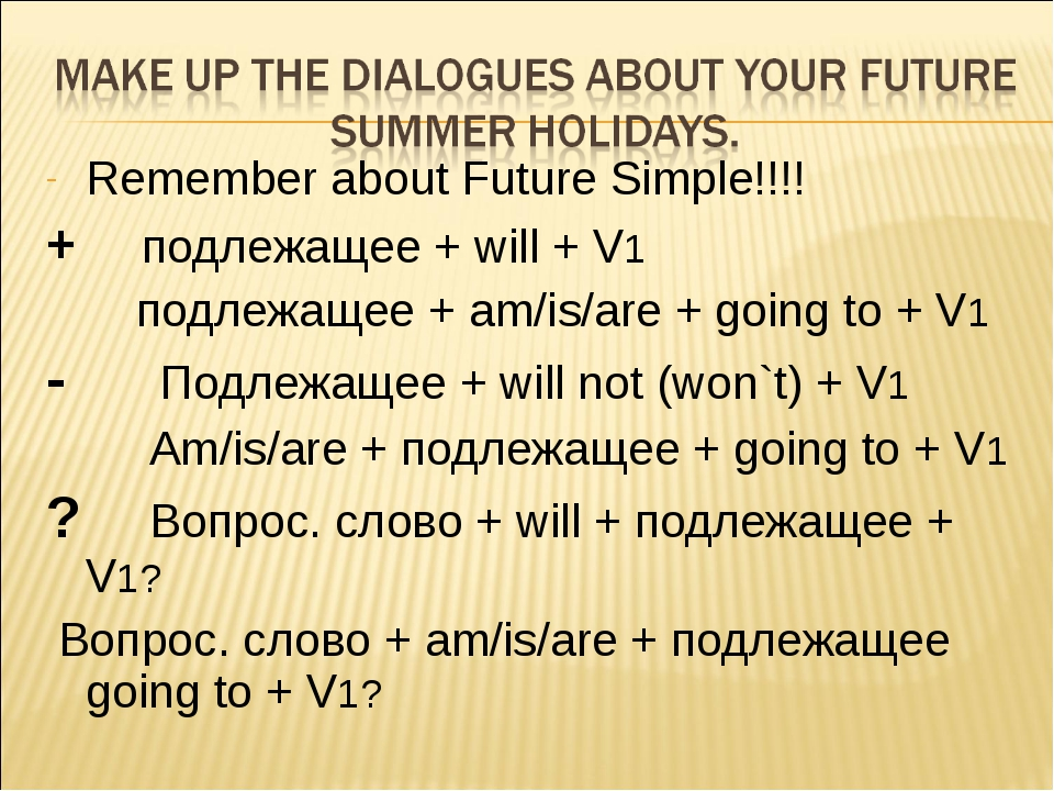 Remember about Future Simple!!!! + подлежащее + will + V1 подлежащее + am/is/...