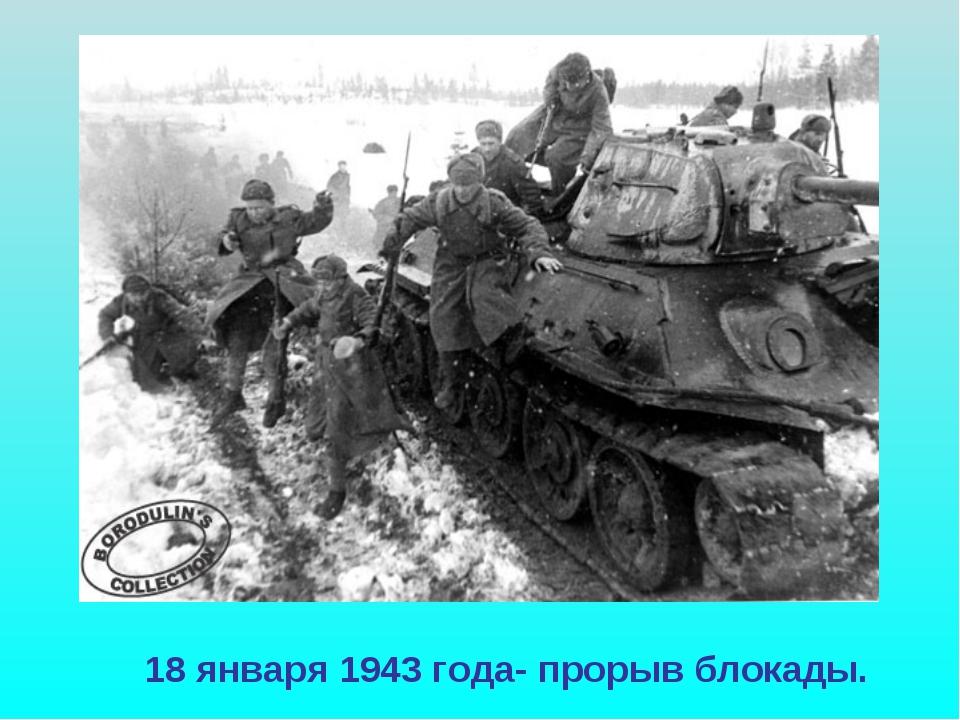 18 января 1943 года- прорыв блокады.