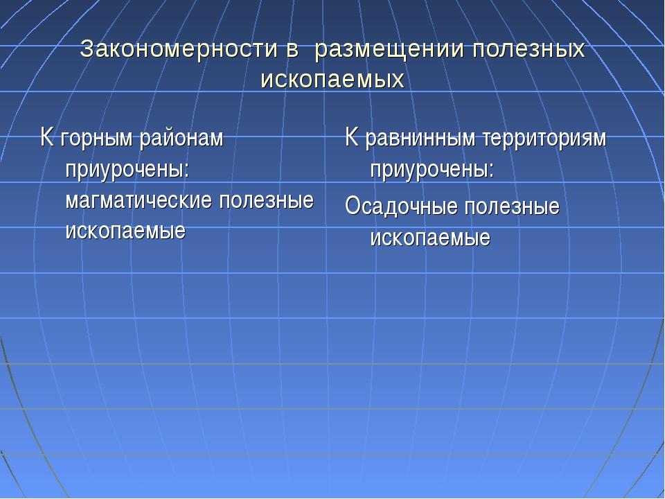 Закономерности в размещении полезных ископаемых К горным районам приурочены:...