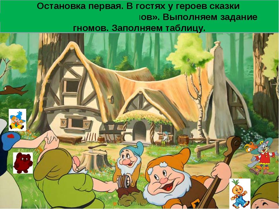 Остановка первая. В гостях у героев сказки «Белоснежка и семь гномов». Выполн...