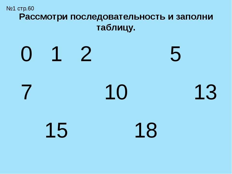 Рассмотри последовательность и заполни таблицу. №1 стр.60 0123456 789...
