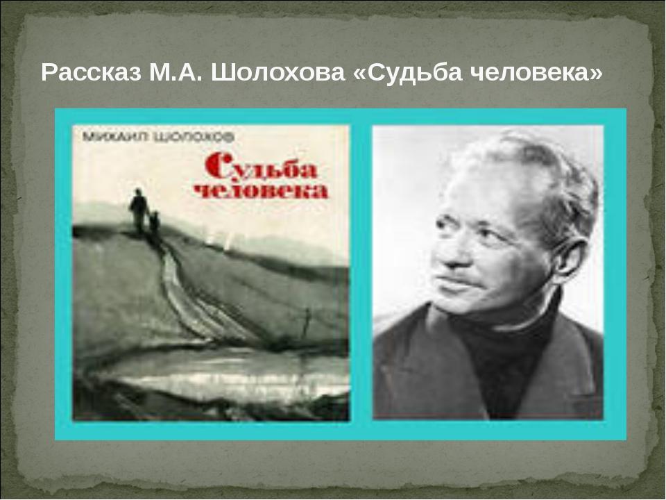 Рассказ М.А. Шолохова «Судьба человека»