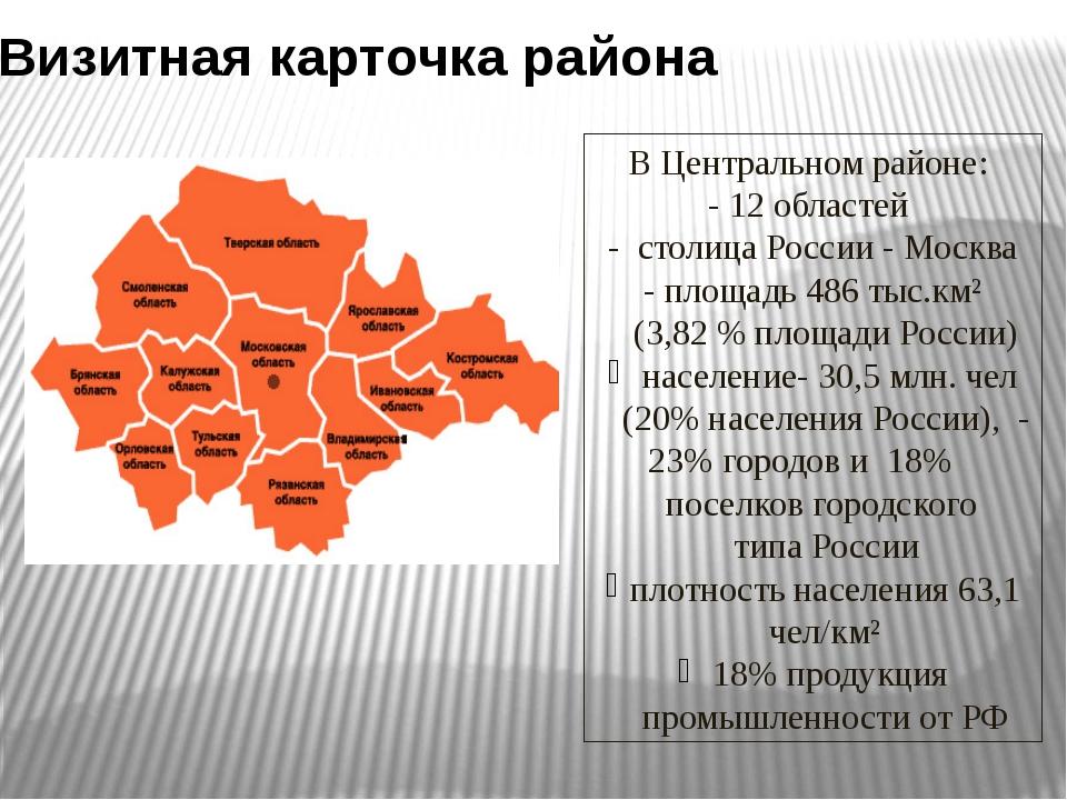 Визитная карточка района В Центральном районе: - 12 областей - столица России...