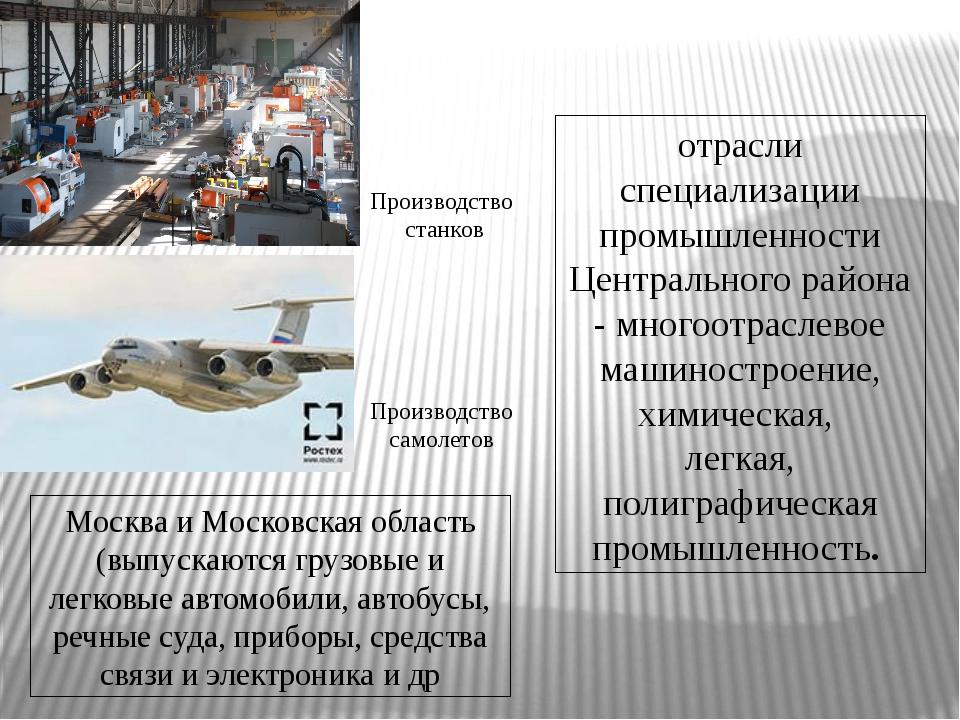 отрасли специализации промышленности Центрального района - многоотраслевое ма...