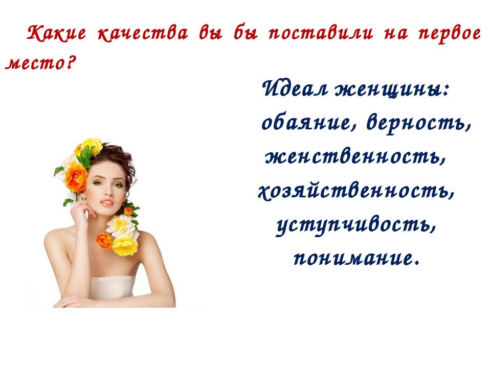 Какие качества вы бы поставили на первое место? Идеал женщины: обаяние, верно...