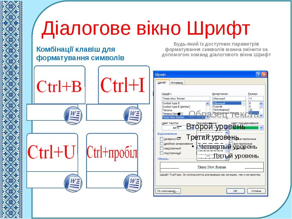 Діалогове вікно Шрифт Комбінації клавіш для форматування символів Будь-який і...