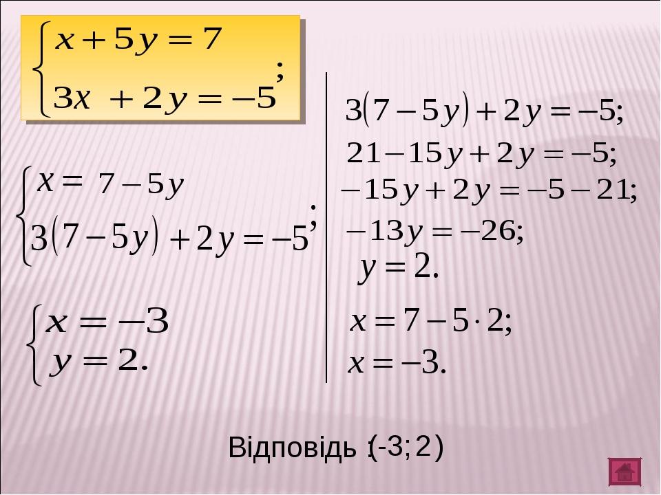 Відповідь : ( -3; 2 )