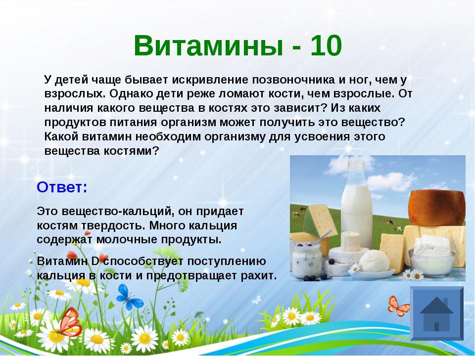 Витамины - 10 У детей чаще бывает искривление позвоночника и ног, чем у взрос...